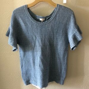 Charming Charlie Blue Lace Back Sweater in Small